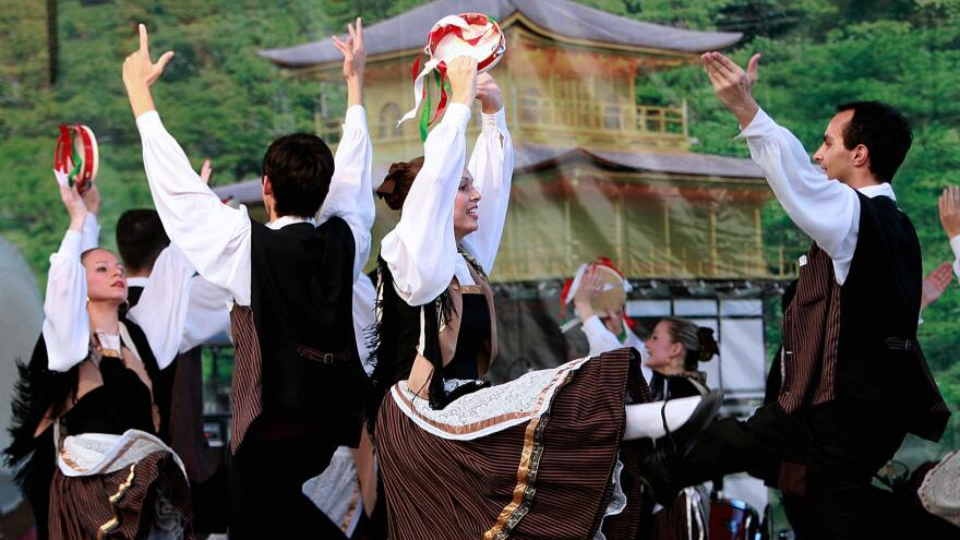 Italian descendants perform the Tarantella, a dance that originates from a spider bite, in Curitiba, Brazil.