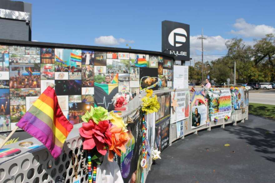 The temporary memorial at the site of the Pulse nightclub.
