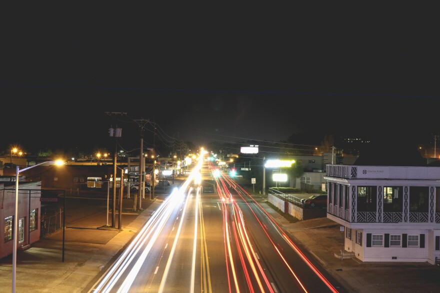 light trails traveling down South Monroe