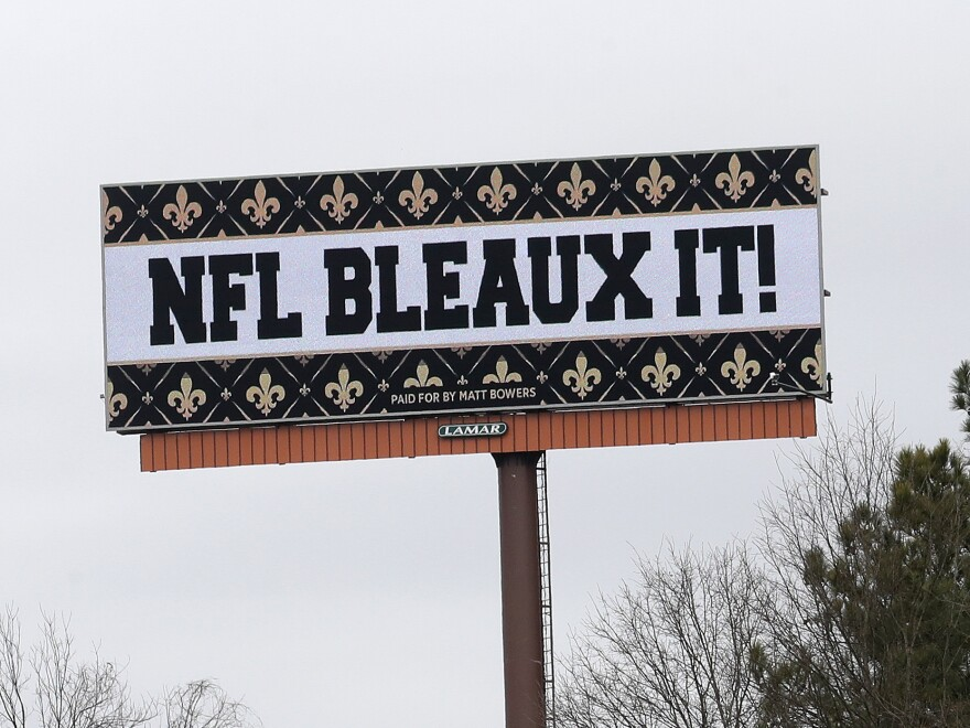 Saints fans aren't happy with the NFL after a controversial no-call in Sunday's NFC championship game. One fan took out several billboards around Atlanta with his message for the league.