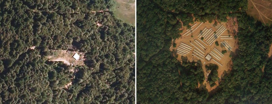 Left: A North Coast marijuana grow site in 2010, with nothing but a little white roofed structure. Right: The same site in 2012.