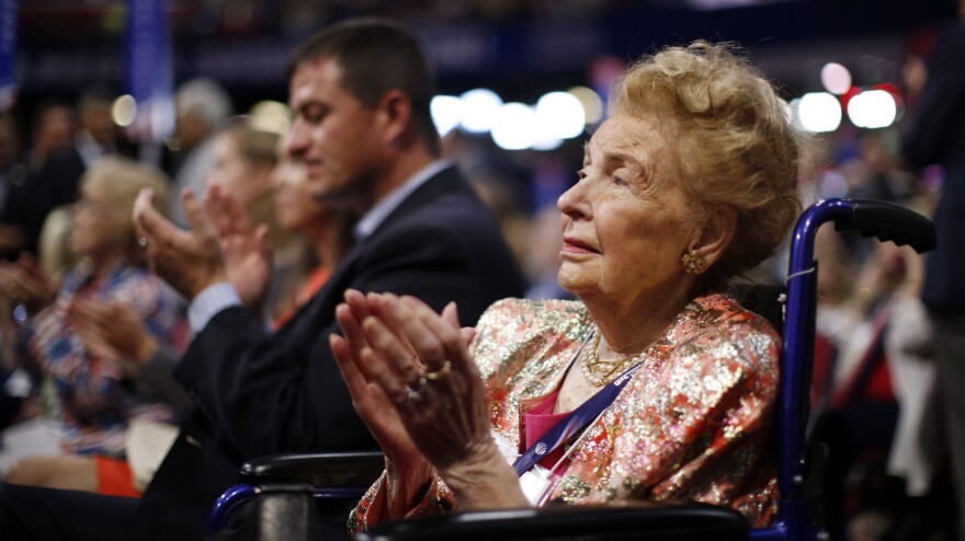 Missouri delegate Phyllis Schlafly watches during the second day session of the Republican National Convention in Cleveland, on July 19.