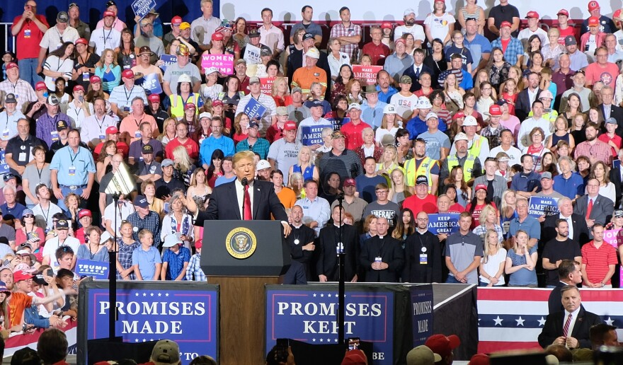 President Donald Trump speaking at a campaign rally in Great Falls, Montana on July 5, 2018