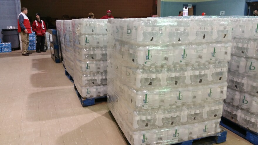 bottled Water distribution at the Sebring Community Center in northeast Ohio.