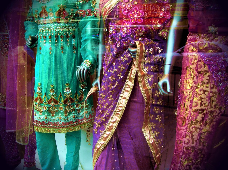 Saris in a shop window in London.