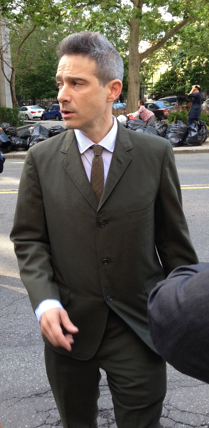 """Rapper Adam """"Ad-Rock"""" Horovitz leaves a New York City courthouse Thursday."""