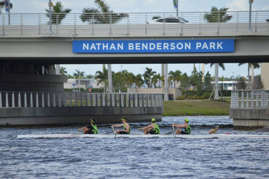 people rowings in a lake at Nathan Benderson Park in Sarasota