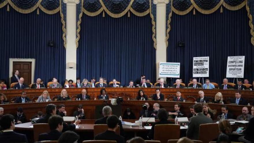 Members of the House Judiciary Committee listen as constitutional scholars testify before the House Judiciary Committee on Capitol Hill Wednesday.