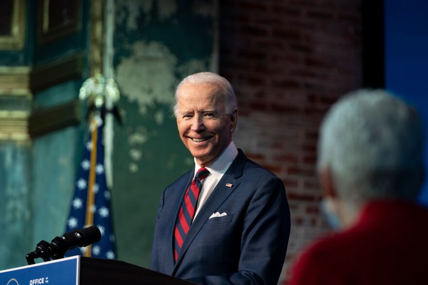 President-elect Joe Biden, seen here during an event Saturday, will begin his course of COVID-19 vaccinations on Monday.