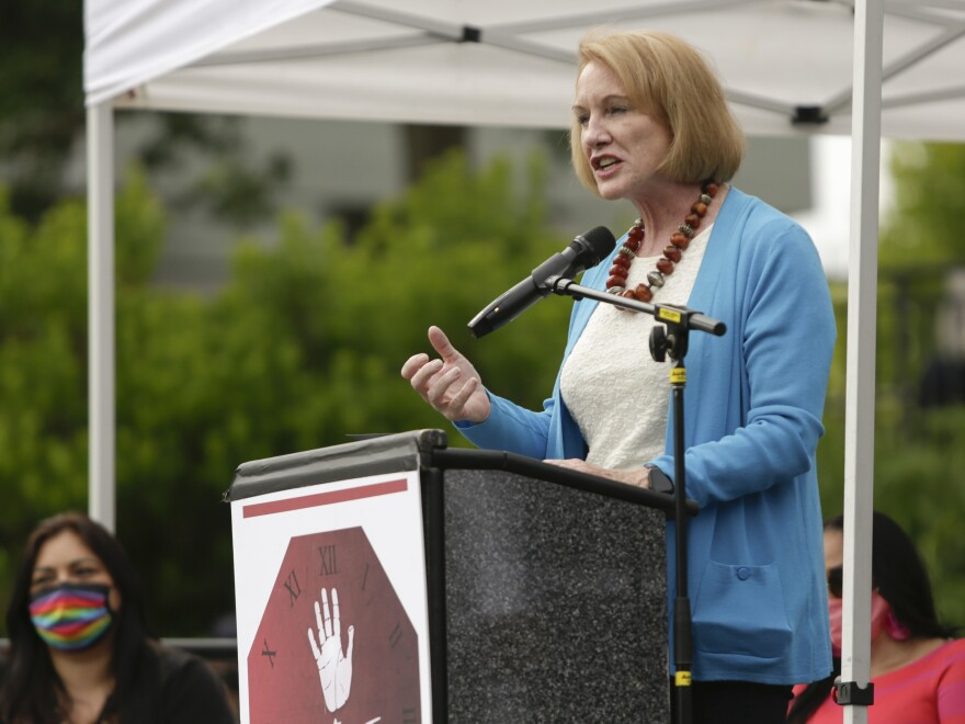 "Seattle Mayor Jenny Durkan says the deployment of federal agents into U.S. cities risks disenfranchising voters. Above, Durkan speaks during the ""The Next Steps"" rally on June 19, 2020."