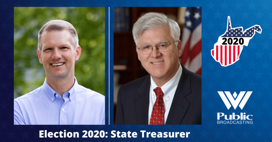 Candidates for West Virginia State Treasurer (left to right) - Riley Moore (R) and John Perdue (D)
