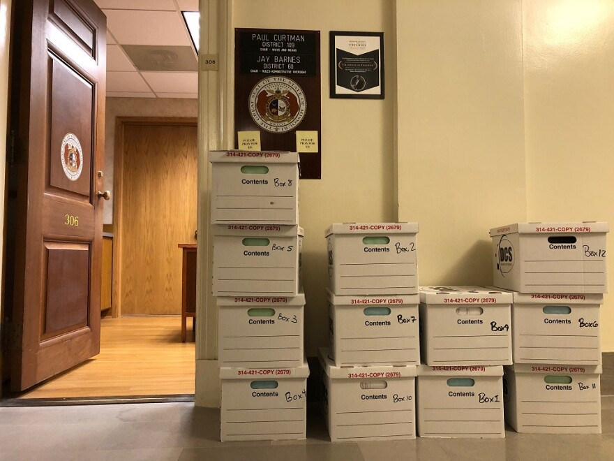 Boxes containing thousands of documents from groups connected to Gov. Eric Greitens were delivered Thursday night to the House committee investigating him. 5/17/18