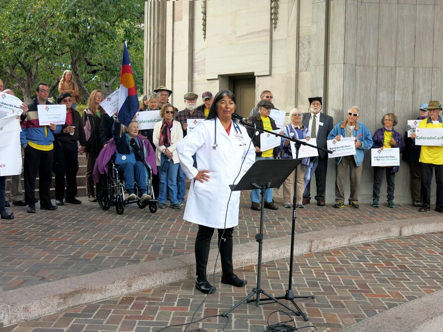 Dr. Irene Aguilar, a Democrat and Colorado state senator from Denver County, is also a medical internist and advocate of universal health care. She led this Denver rally in favor of the 2016 ballot measure.