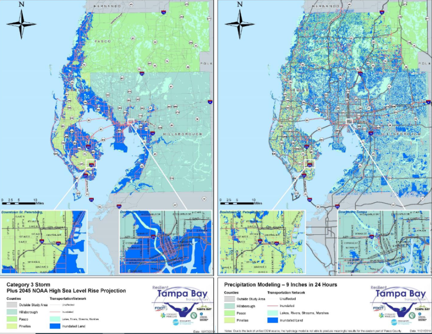 maps of the Tampa Bay area showing flooding from an extreme weather event