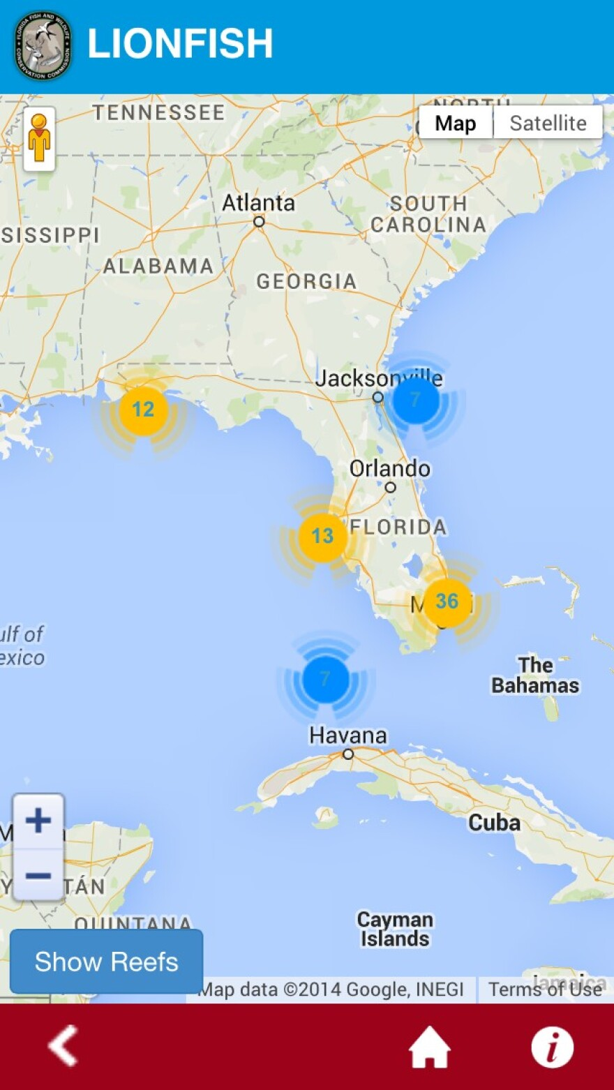 """The interactive map of the """"Report Florida Lionfish"""" app"""