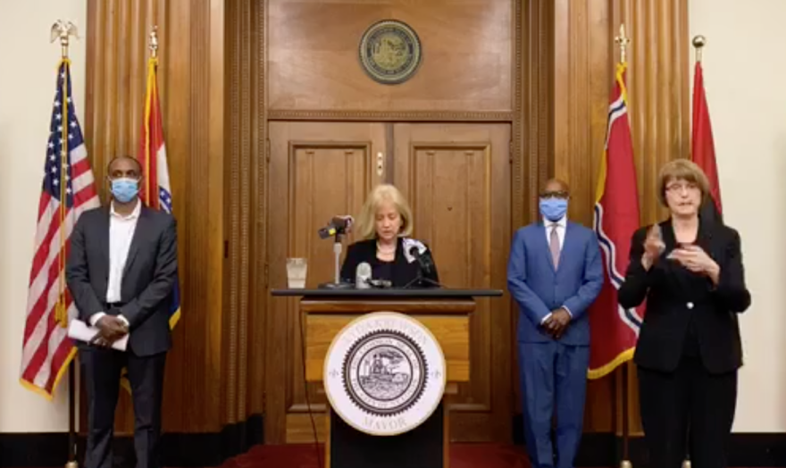 Mayor Lyda Krewson announced plans for distributing $64 million  in coronavirus aid at a press conference on Friday, May 29.