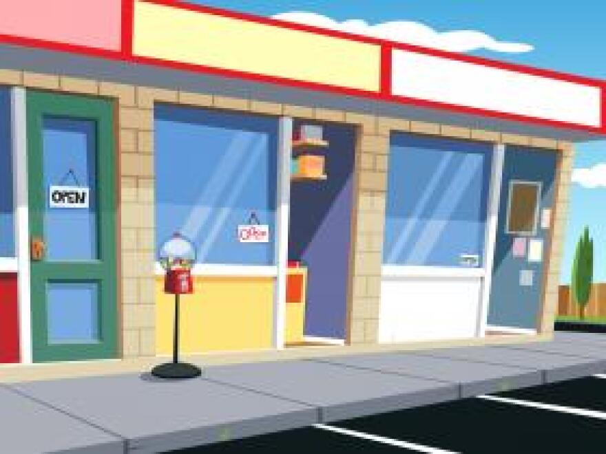 photo illustration of store fronts in a strip plaza.