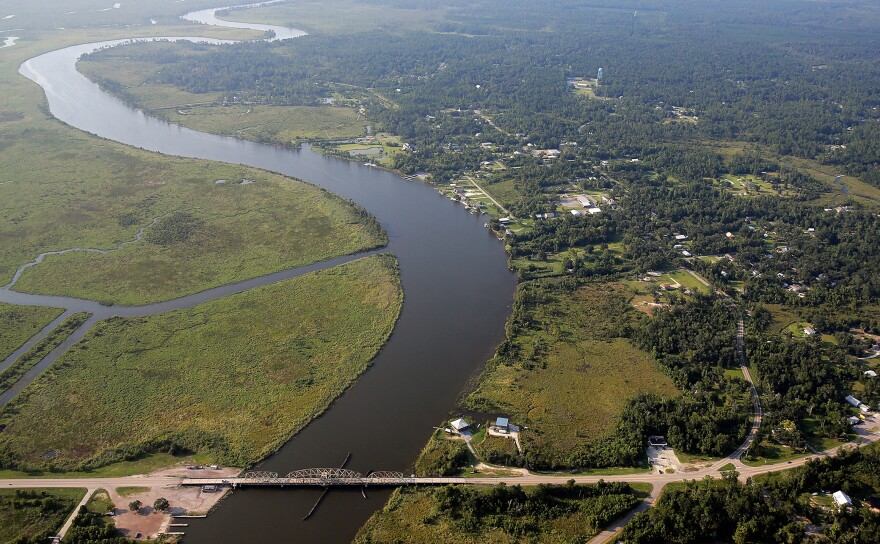 A view of Pearlington, Miss., 10 years after Hurricane Katrina. The East Pearl River and St. Tammany Parish in Louisiana are to the left.