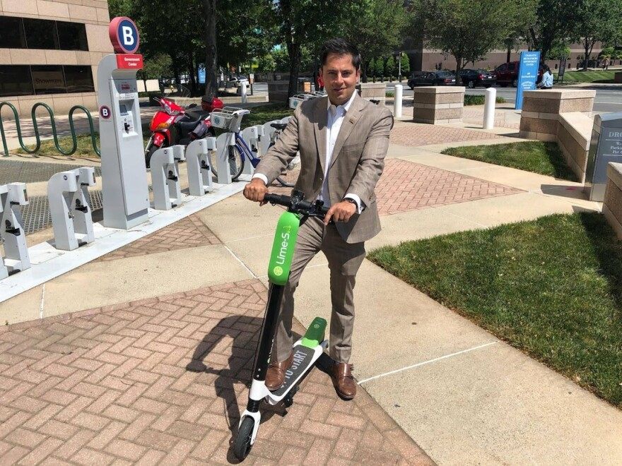 Charlotte City Council member tried out a scooter recently.