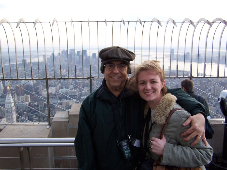 Norm Sack and daughter Katie Colt smiling at the top of the Empire State Building during a family trip to New York City, 2005. (Courtesy)