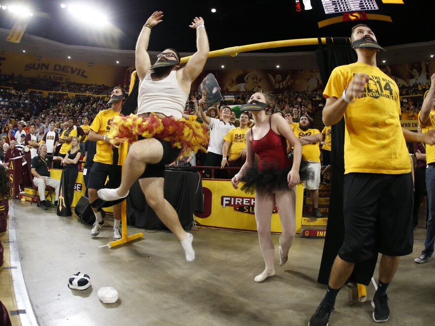 Arizona State fans showcase their Curtain of Distraction during a game against UCLA on Feb. 18 in Tempe, Ariz.