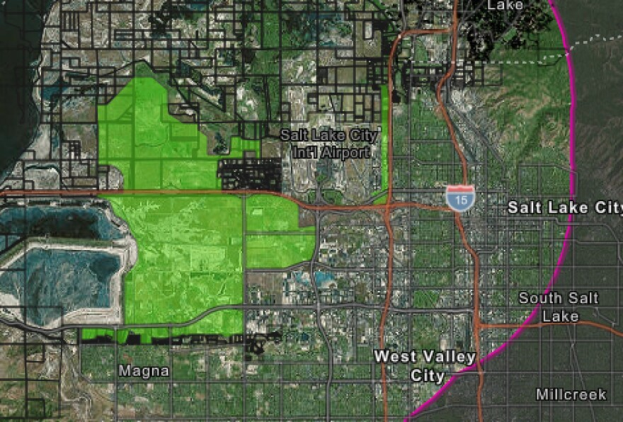 Map highlighting northwest region of Salt Lake City.