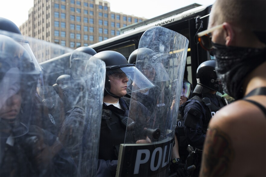 St. Louis Police face off with protesters on September 15, 2017, the day a judge acquitted Jason Stockley of first-degree murder in the 2011 shooting death of Anthony Lamar Smith.