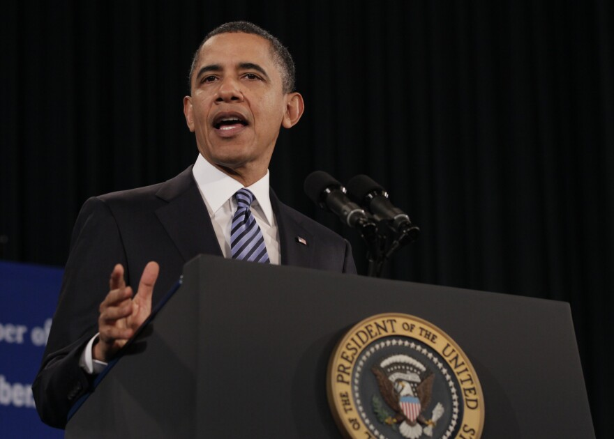 President Obama speaks at the U.S. Chamber of Commerce on Feb. 7. He said the corporate tax system should be smarter, simpler and fairer.