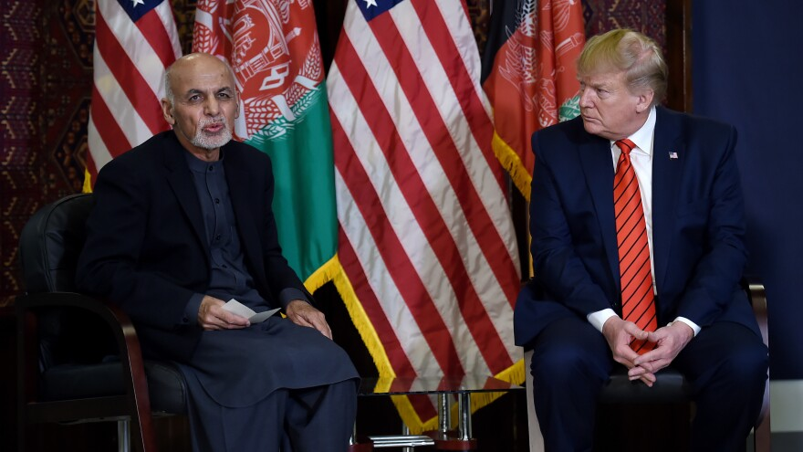 President Trump meets with Afghan President Ashraf Ghani during a surprise Thanksgiving visit to Bagram Airfield, just outside Kabul.