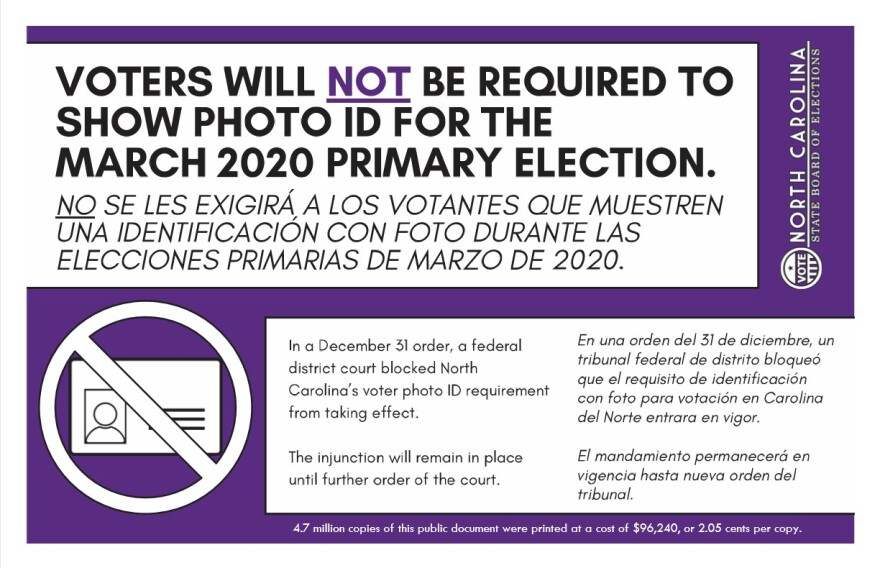 a postcard reminding no photo id required