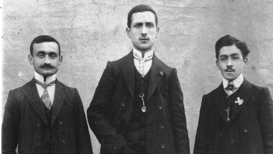 Dawn Anahid MacKeen's grandfather, Stepan Miskjian (left), is pictured with friends around 1910, just a few years before the Armenian genocide.