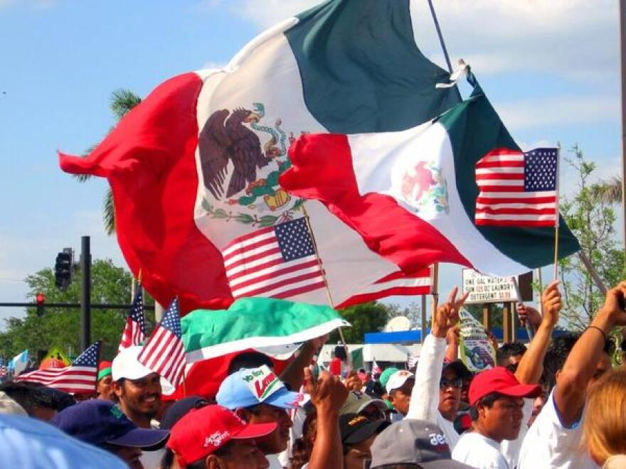 Pro-immigration rally in Fort Myers, FL.