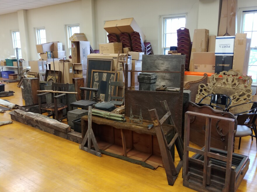 Some of the items David Whitcomb found in a concealed attic in an historic building he purchased in upstate New York late last year. He enlisted the help of a local auction company to help clean and catalogue his findings.