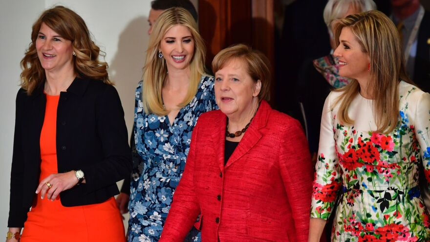 First daughter and presidential adviser Ivanka Trump (second from left) arrives for a panel discussion with (from left) W20 co-Chairwoman Stephanie Bschorr, German Chancellor Angela Merkel and Queen Maxima of the Netherlands.