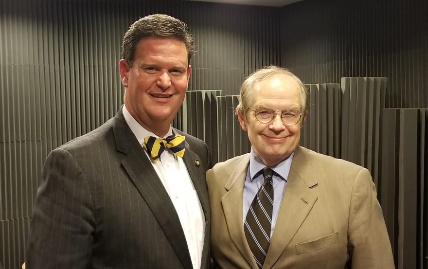 Tom Flangan and Mayor John Dailey in FM Studio