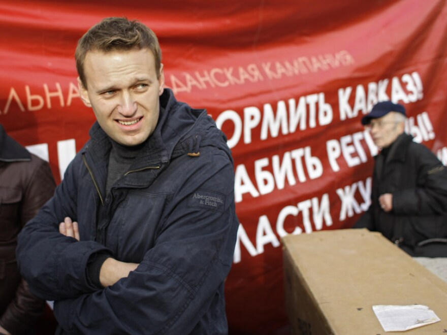 Navalny (shown here Nov. 4 during an authorized march on the outskirts of Moscow) first rose to prominence in 2007, when he took his protest against the state oil pipeline monopoly online.