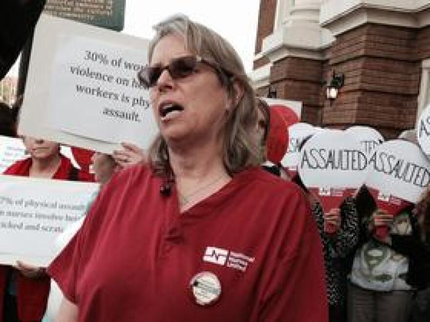 Pasco County hospital nurse Louise Eastty spoke at Tuesday's rally on workplace violence.