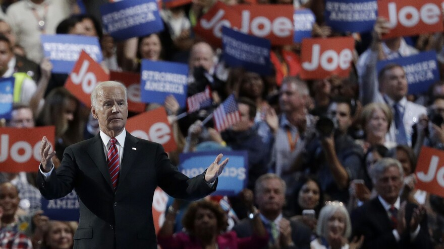 Then-Vice President Joe Biden stands onstage during the Democratic National Convention on July 27, 2016, in Philadelphia.