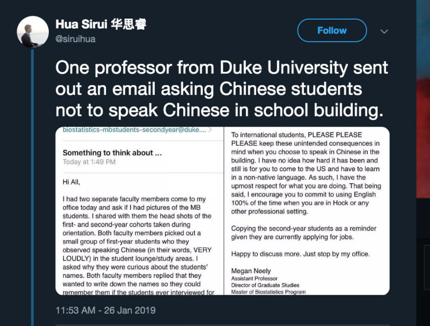 Megan Neely's email to Duke University graduate students in biostatistics was circulated in a tweet.