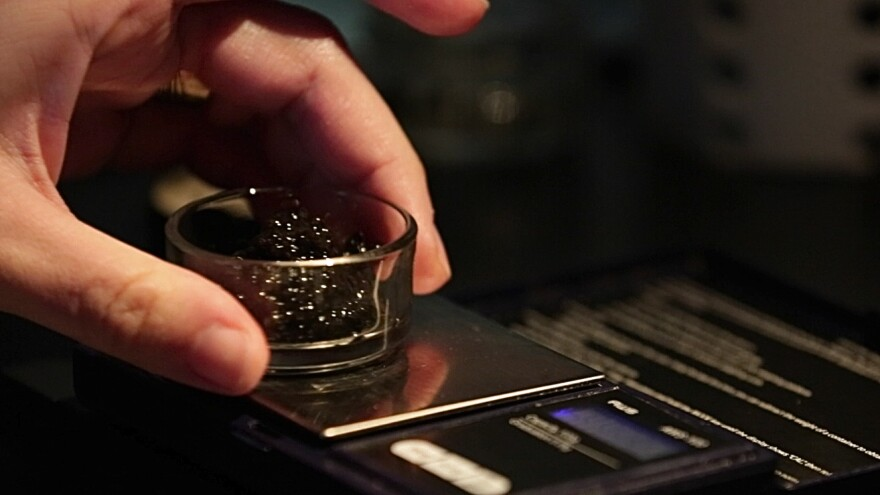 Sturgeon caviar is measured on a gram scale at the Russian restaurant Kachka in Portland, Ore., where customers pay $84 for just a half-ounce of the best sturgeon caviar on the menu. It comes from farms to protect wild stocks. Top-shelf sturgeon caviar can sell for up to $200 an ounce in stores and restaurants.