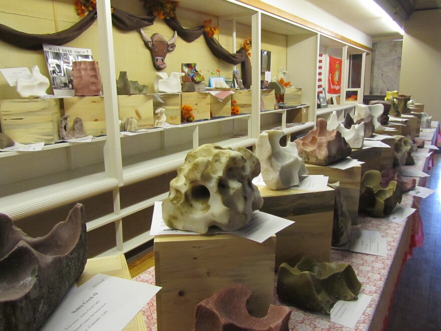 Sculptures entered in the Great Salt Lick Contest await the judging and auction.