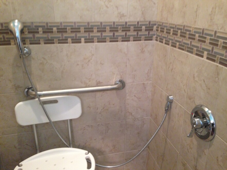 Prospero-Altiery's shower has a horizontal grab bar, a lowered valve and a handheld shower head.