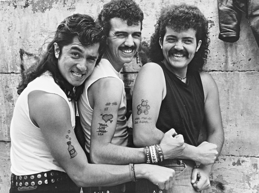 Sergio Arau (center) poses with fellow Botellita de Jerez bandmates. They were one of the most influential groups in the '80s after rock re-emerged in Mexico following 15 years of censorship and repression.
