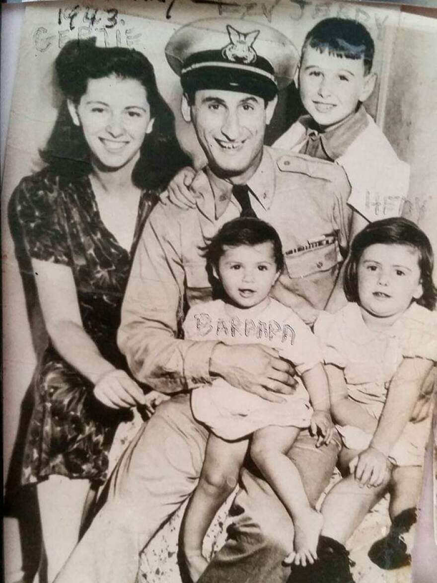Isadore Greenbaum with his family in 1943.