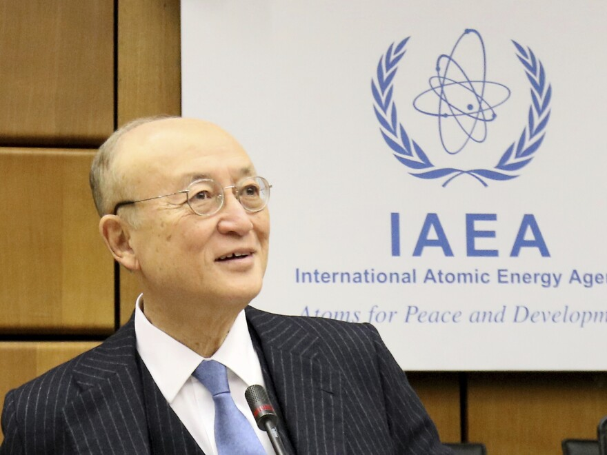 Director General of the International Atomic Energy Agency Yukiya Amano at a meeting of the agency's board of governors in Vienna last year. The agency announced Amano's death on Monday.