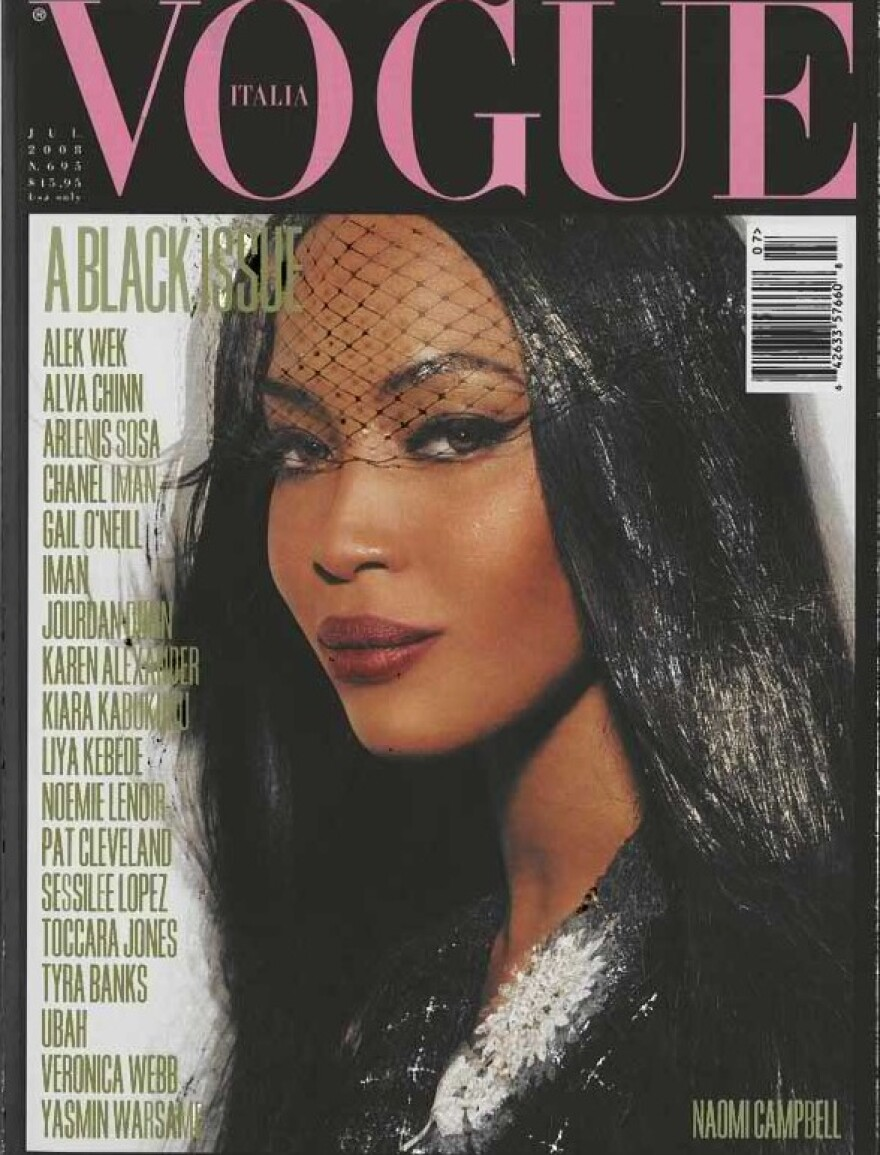 """In July 2008, <em>Vogue Italia</em> published the """"Black Issue."""" Naomi Campbell was featured on the cover."""