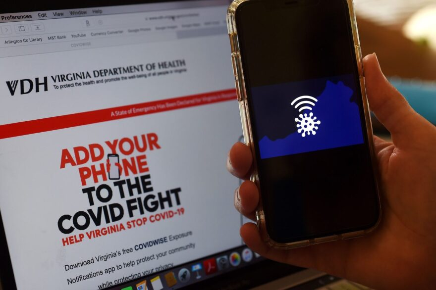 In this photo illustration a COVIDWISE logo is displayed on a mobile phone screen in Arlington, Virginia, amid the novel coronavirus pandemic.