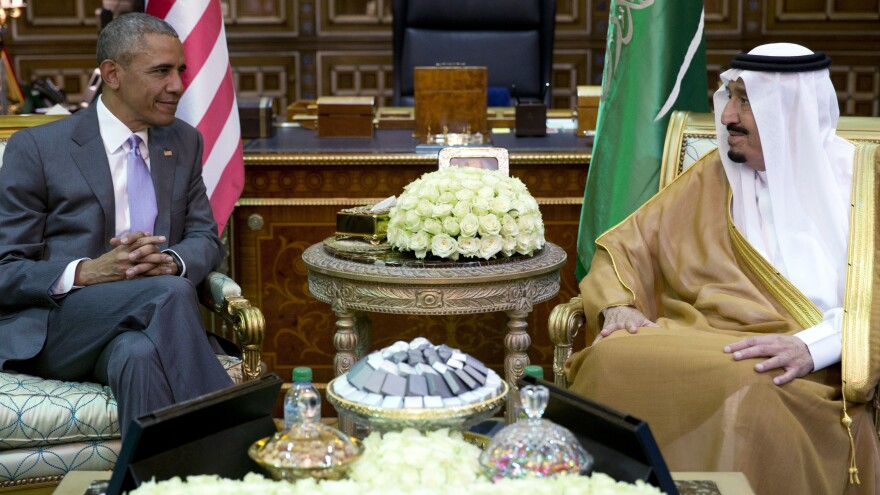 President Obama and Saudi Arabia's King Salman meet in Riyadh, Saudi Arabia, on April 20. Salman, 80, has been far more assertive on foreign policy than many expected. The U.S. and Saudi Arabia have had differences on issues such as dealing with Iran and fighting the Islamic State. The king announced a restructuring of the government on Saturday.