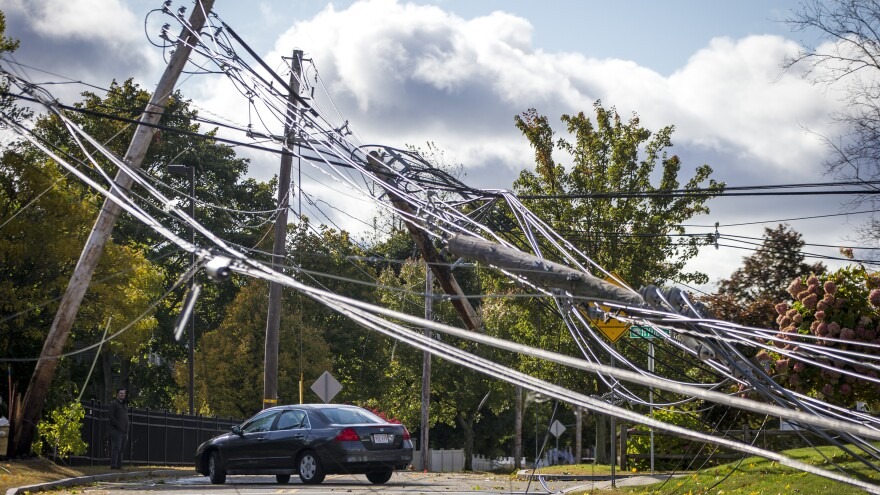 Power lines knocked down due to storm damage in Danvers, Mass.