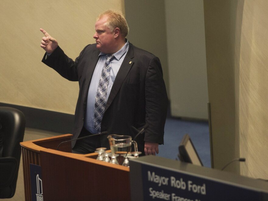 Toronto Mayor Rob Ford at a city council meeting on Tuesday.